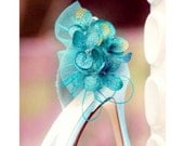 Shoe Clips Turquoise / Ivory / Aubergine Hydrangea. Spring Bridesmaid Bride. Also champagne lime green plum red orange, Gold Glitter & Tulle