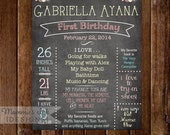 Shabby Style Printable First Birthday Chalkboard Sign -- YOU PRINT