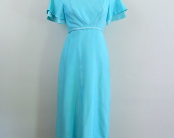1960s Dress ..  Emma Domb Gown ..  Vintage 60s Formal Dress ..  Flutter Sleeves in Aqua .. Size Small