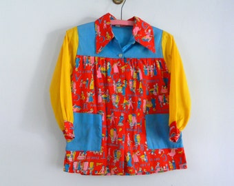 Vintage Little Girl's  Dress ... 1960s Colorful Child's  Cotton Dress ... The Apple Pie Dress