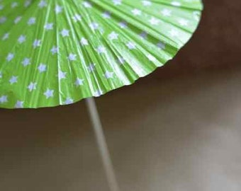 Summer cocktail umbrella - cake toppers - drink umbrella - green star in big size 5pcs