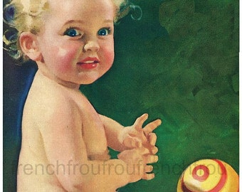 antique baby girl illustration DIGITAL DOWNLOAD