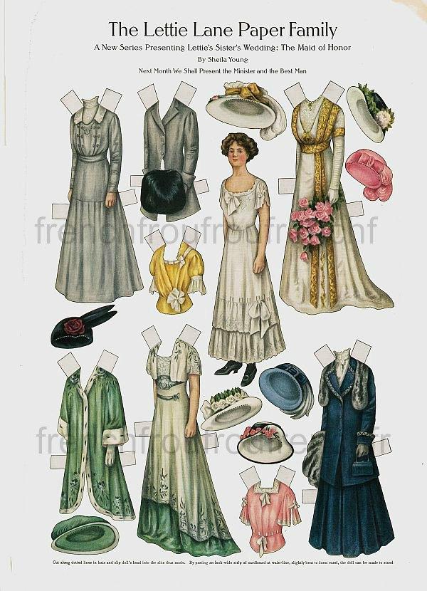 antique victorian paper dolls lattie lane wedding dress