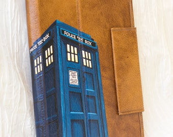 Hand Painted Doctor Who TARDis inspired Vegan Leather Cover for Ipad, Xoom or other Tablet Computer