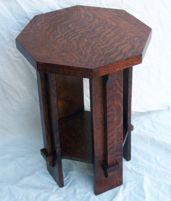 Arts and crafts mission style octagon table by for Arts and crafts style table