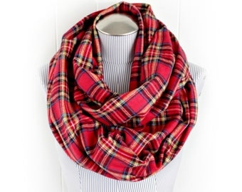 Red Plaid Infinity Scarf, Tartan Red and Green and Yellow Unisex Extra Long Loop Cowl