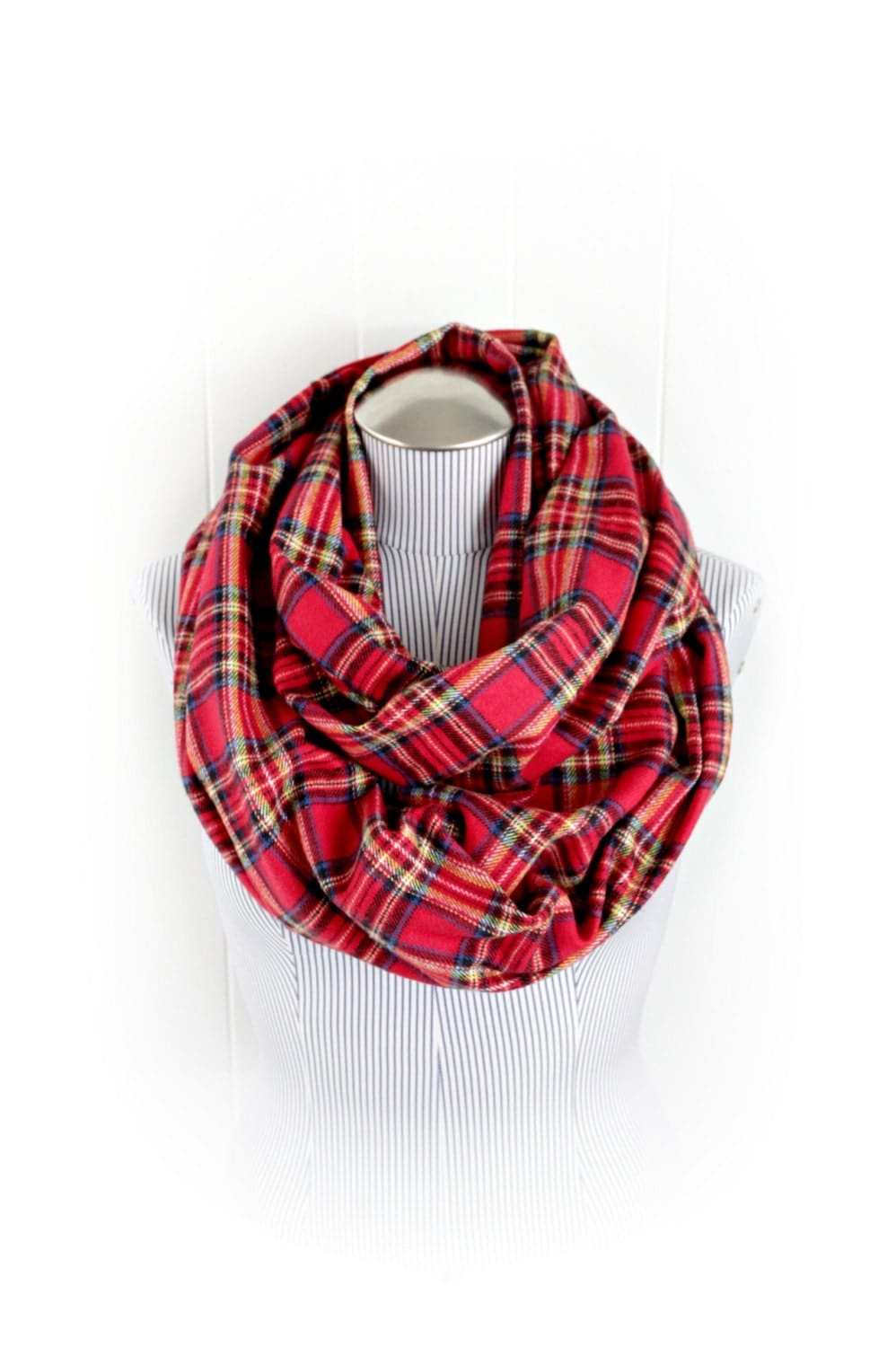 plaid infinity scarf tartan and green and yellow