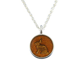 Bunny Rabbit Wood Pendant Necklace - Silver Bunny Rabbit and Dark Wood Necklace - Gwen Delicious Jewelry Designs 2068