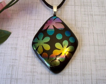 Dichroic Fused Glass Necklace - Flowers and Dots - Fused Jewelry - Dichroic Pendant -9-14