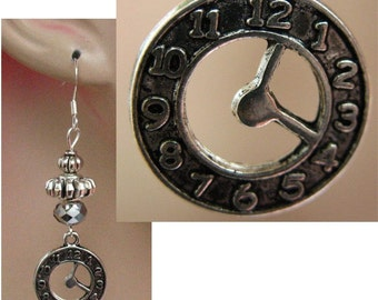 Silver Steampunk Pocket Watch Charm Earrings Handmade Jewelry Accessories