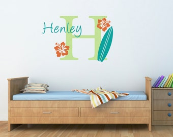 Surfboard Wall Decal with Initial & Name - Personalized Hawaiian Wall Decal - Surfboard Decal - Large