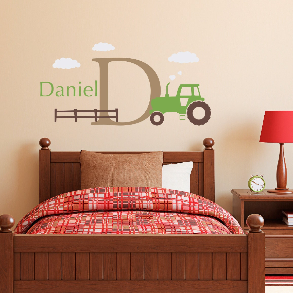 personalized tractor wall decal set boys name and initial. Black Bedroom Furniture Sets. Home Design Ideas