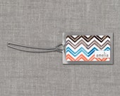 Chevron Zig Zag Personalized Bag Tags - Custom Backpack Tags, Diaper Bag Tags, Luggage Tags