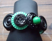 Button Bracelet made with Black and Green Vintage Buttons
