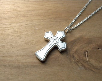 Sterling silver cross necklace womens cross silver necklace - Baptism gift idea for her christening confirmation gift guide