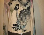 Vtg Cream magenta olive teal Black DR SUESS Graphic Print Cashmere Art Sweater 15% off list price