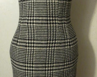 Vtg 60s Black and White Plaid Wool Sleeveless Secretary Jumper Wiggle Dress