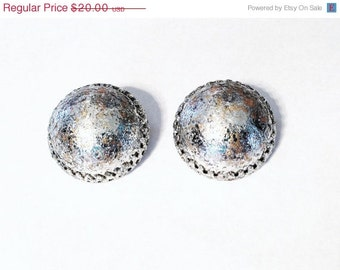 Vintage Silver Clip On Earrings Upcyled Hand Painted 1950s 1960s Mad Men Style Jewelry Retro Gift Bling Statement mod