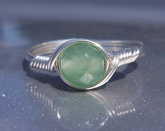 Faceted Green Aventurine Ring Argentium Sterling Silver Wire Wrapped Stone Ring