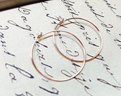 "Rose Gold Hoop Earrings / Small 1 Inch Earrings / Simple and Modern Hoops / Minimalist Jewelry / 1""  Earrings"