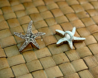 8 pcs 18 mm Glitter Starfish Acrylic Buttons with Shank
