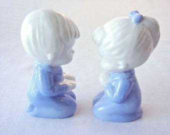 Praying Girl Boy Children Figurines, Bedtime Prayers in Pajamas, Lego Porcelain Blue White, 60s