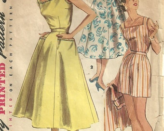 Vintage 50s Sewing Pattern / Simplicity 1180 / Playsuit Romper Shorts Skirt / Bust 33