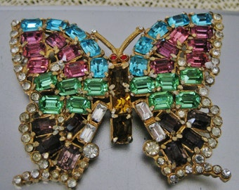 Vintage Large Emerald Cut Rhinestone Butterfly Brooch Pin Multicolored