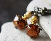 Orange Czech Glass Bead Earrings  - A.1558