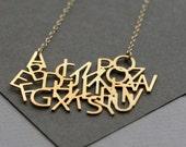 ABC necklace, Now i know my ABC's necklace, typography jewelry
