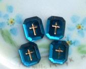 4 Cross cabochons, Western German, Vintage Amethyst Cabochons, Glass cabochons, Gold Cross, Religious cabochons, Christian, 10x12mm #988