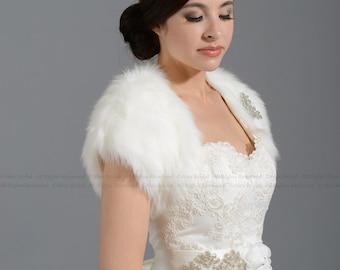 faux fur bolero faux fur shrug FS004-Ivory