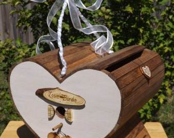 Wedding Card  Box Heart Birdhouse with Stand