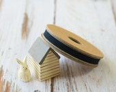 BLACK with BEIGE edge thin NATURAL fabric woven cotton blend ribbon