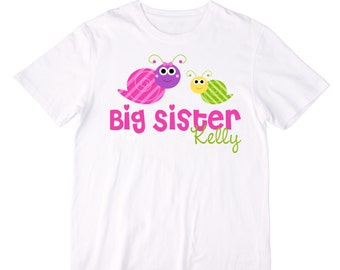 Personalized Snails Big Sister Shirt or Bodysuit - Can be Personalized with ANY name - Great for Big Sister or a Pregnancy Announcement