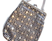 Vintage 1960s purse silver tone studded