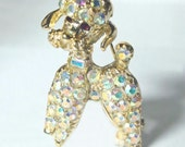 Vintage AB Crystal Rhinestone Gold Tone Figural Poodle Pin Brooch 1950's 1960's