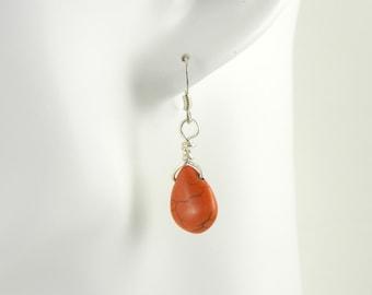 Orange Magnasite Drop Earrings