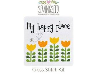My Happy Place Cross Stitch Kit, DIY Cross Stitch, Flower Cross Stitch Kit, DIY Embroidery Kit