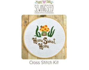 Home Sweet Home, Mushroom House Cross Stitch Kit, House Warming DIY Kit