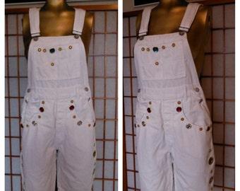 Vintage 90s Overalls Hip Hop White Denim Salt and Peppa Bejewelled Shortalls Dungarees Romper