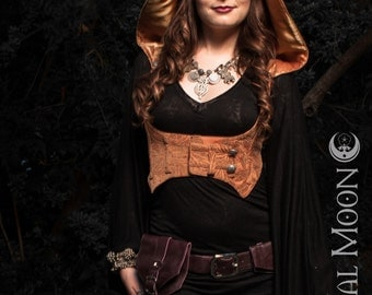 Last One SALE: The Underbust Vest/Harness w/DETACHABLE Hood in Sunstone (Peach) Tapestry by Opal Moon Designs (size L)