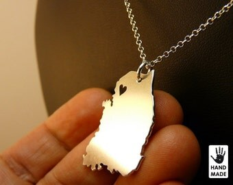 SOUTH KOREA Map Handmade Personalized Sterling Silver .925 Necklace in a gift box