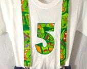 Ninja Birthday Shirt and Suspenders: Boy turtles party outfit, green, brown, suspenders, birthday shirt, birthday age,