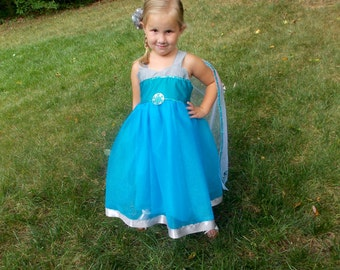 Elsa Tutu Dress: Detachable cape, frozen, sparkle, snowflakes, costume, silver and teal lined, Princess Birthday Party, Parks Trip, dinner