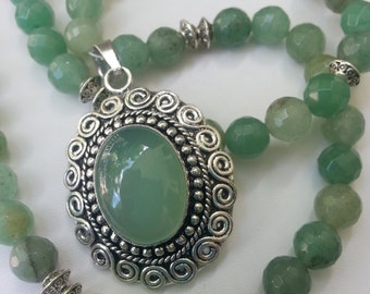 Big Bold Celtic green Jade Gemstone necklace with pendant SS