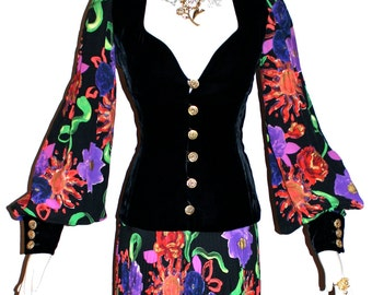 UNGARO PARALLELE Vintage Gown Haute Couture Numbered Floral Velvet Maxi Dress - AUTHENTIC -