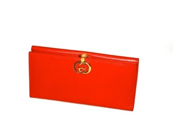 GUCCI Wallet Red Leather Monogram Enamel Coin Clutch - AUTHENTIC -