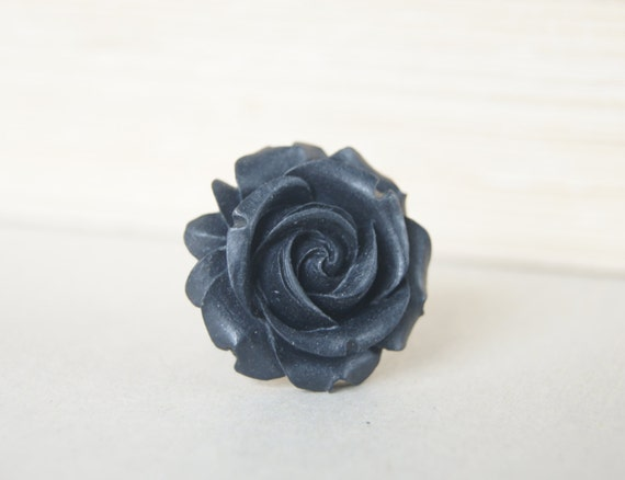 Black Resin Rose Flower Silver Metal Vintage Inspired Adjustable Ring, Spring Fashion