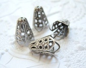 Antique silver ox 10 to12mm filigree bead caps, lot of (4) - BD168
